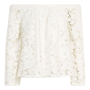 Girls white lace long sleeve bardot top