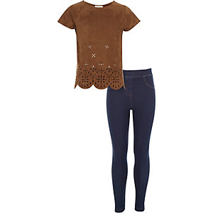 Girls brown laser cut top and leggings outfit