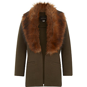 Girls dark green faux-fur collar blazer