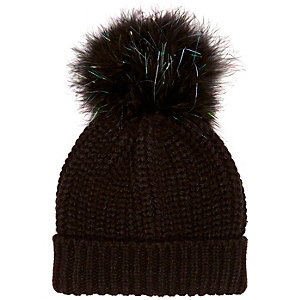 Girls black large pom pom beanie hat
