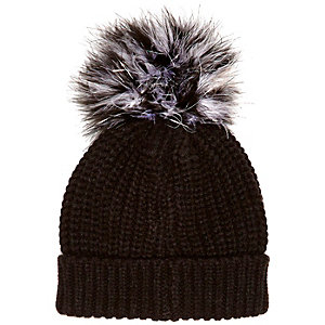 Girls grey large pom pom beanie hat