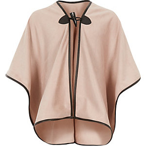 Girls pink faux-suede cape