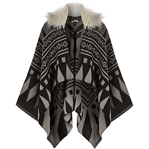 Girls grey geometric faux-fur collar cape