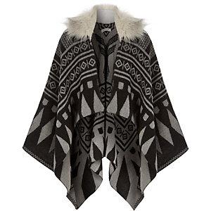 Girls grey geometric faux-fur collar cape
