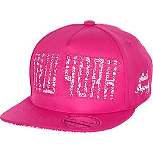 Girls pink paisley print New York trucker cap