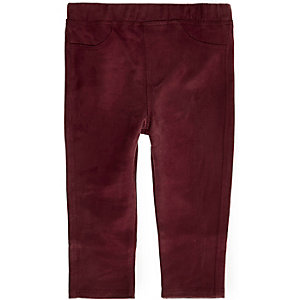 Mini girls dark red faux-suede leggings