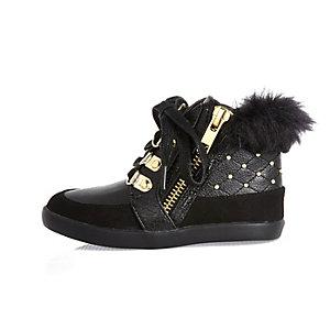 Mini girls black studded high top sneakers