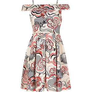 Girls ecru printed bardot dress