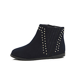 Girls navy studded boots
