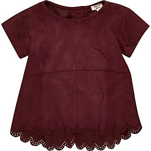 Mini girls purple faux suede laser t-shirt