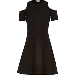 Girls black textured cold shoulder dress