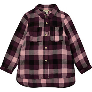 Mini girls purple check shirt