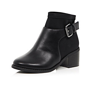 Girls black scuba buckle ankle boots