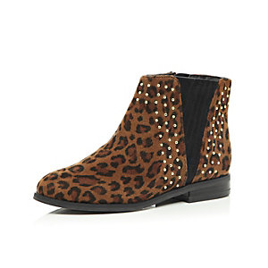 Girls brown leopard print flat Chelsea boots