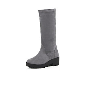 Girls grey long boots