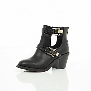 Girls black cut-out Western boots