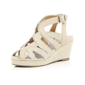 Girls beige strappy wedge shoes