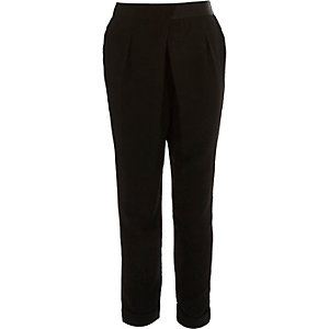Girls smart wrap front black slim trousers