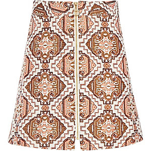 Girls orange jacquard zip front skirt