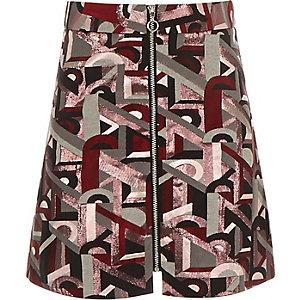 Girls pink metallic jacquard skirt