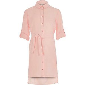 Girls light pink shirt dress