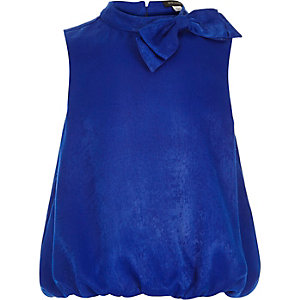 Girls blue bow bubble hem top