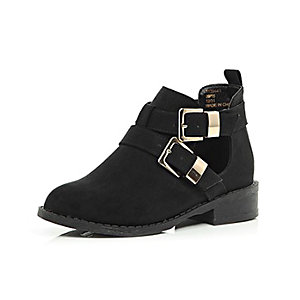 Girls black cut out buckle ankle boots