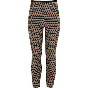Girls grey geo jacquard leggings