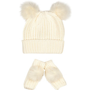 Girls cream pom pom hat and gloves set