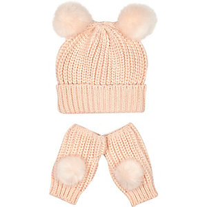 Girls pink pom pom hat and gloves set