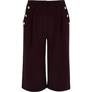 Girls red button long culotte shorts