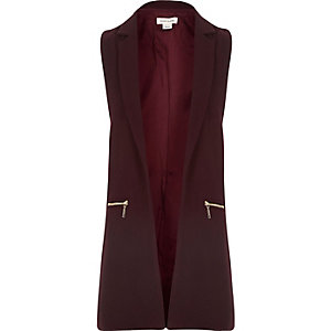 Girls dark red sleeveless jacket