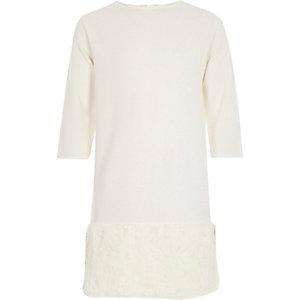 Girls white faux-fur trim dress