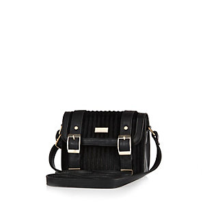 Girls black pony satchel handbag