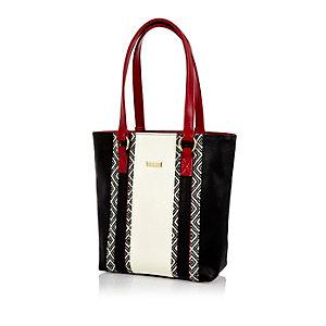 Girls cream geo print shopper handbag