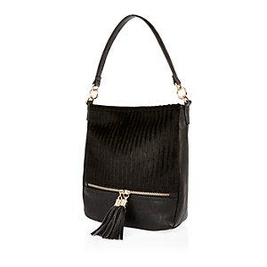 Girls black pony skin slouchy handbag