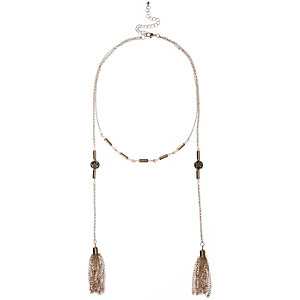 Girls gold tone layered tassel necklace