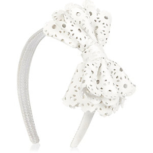 Girls white lazer cut bow Alice headband