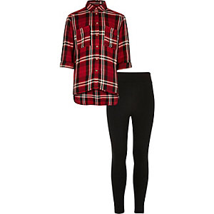 Girls red check shirt and leggings set