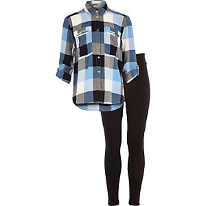 Girls blue check shirt and leggings outfit