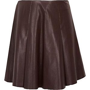 Girls dark red leather-look skirt