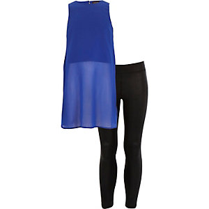 Girls blue longline top leggings outfit