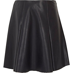 Girls navy leather-look skirt
