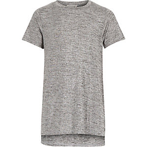 Girls grey metallic side split t-shirt