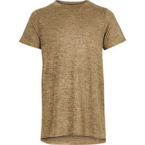 Girls rust brown metallic side split t-shirt