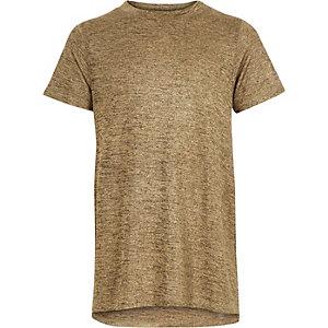 Girls rust brown metallic side split t-shirt