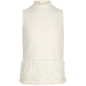 Girls cream faux-fur trim top