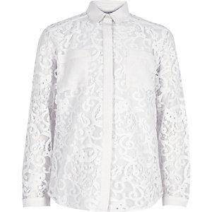 Girls cream lace shirt