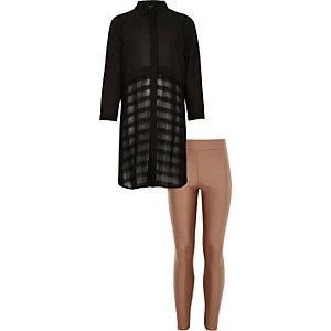Girls black longline shirt leggings outfit