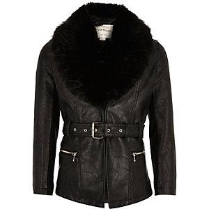 Girls black leather jacket